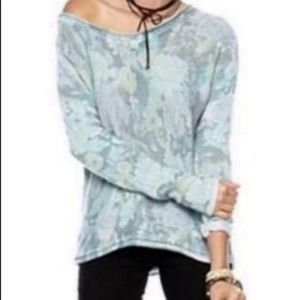 Free People Mint Flower Bomb Pullover Sweater